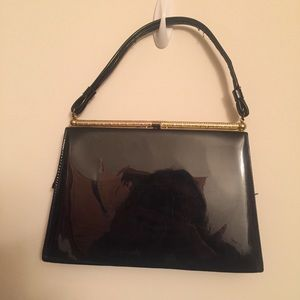 Vintage Patent Black Leather Shoulder Bag